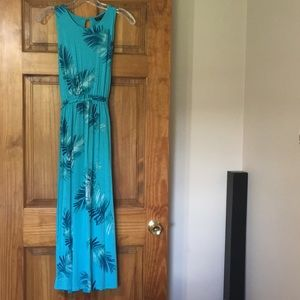 NWT Lane Bryant Turquoise Floral High Neck Midi